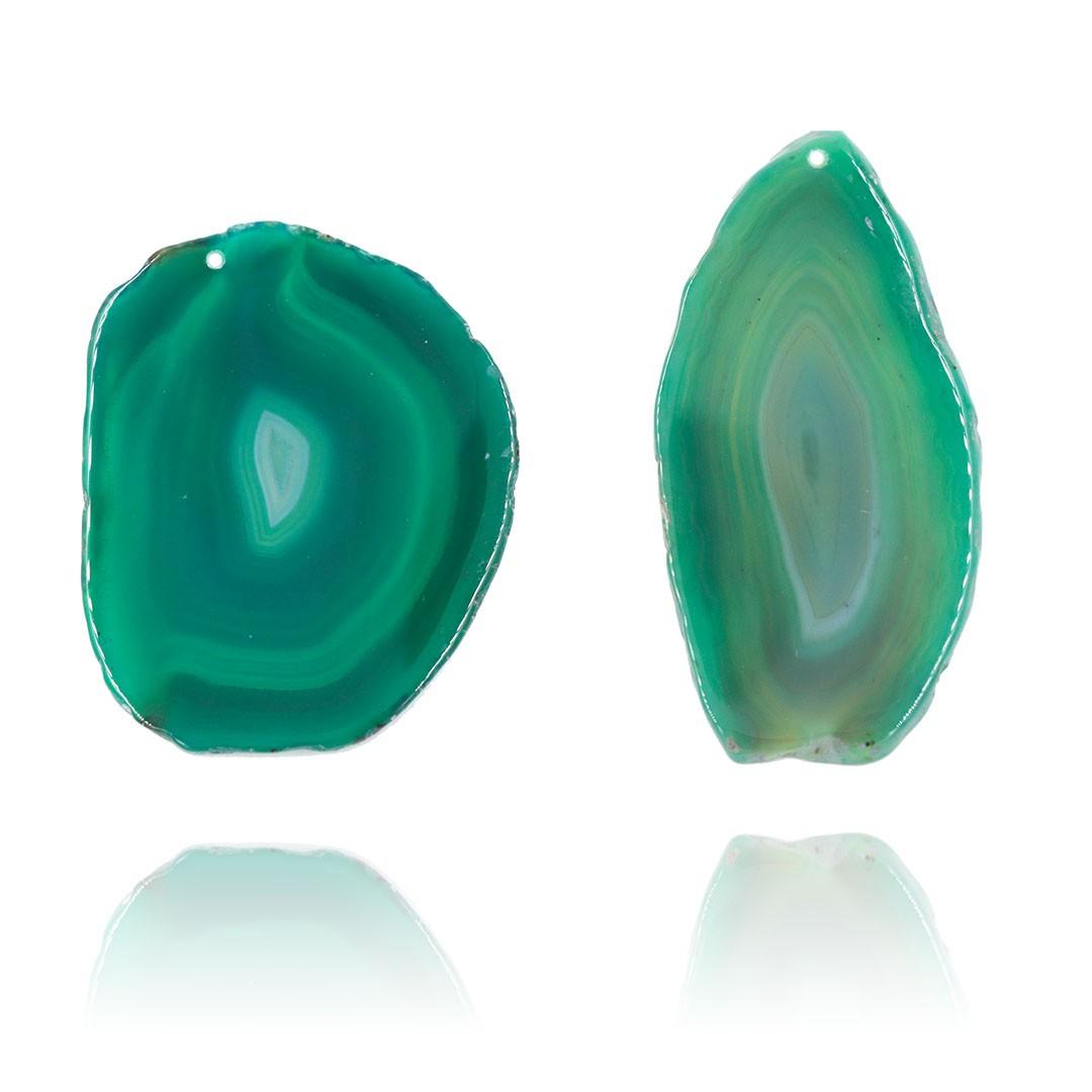 Chapa de Ágata Verde Furada com Borda Polida 6 a 8 cm - 1 Peça - AGT004  - ArtStones