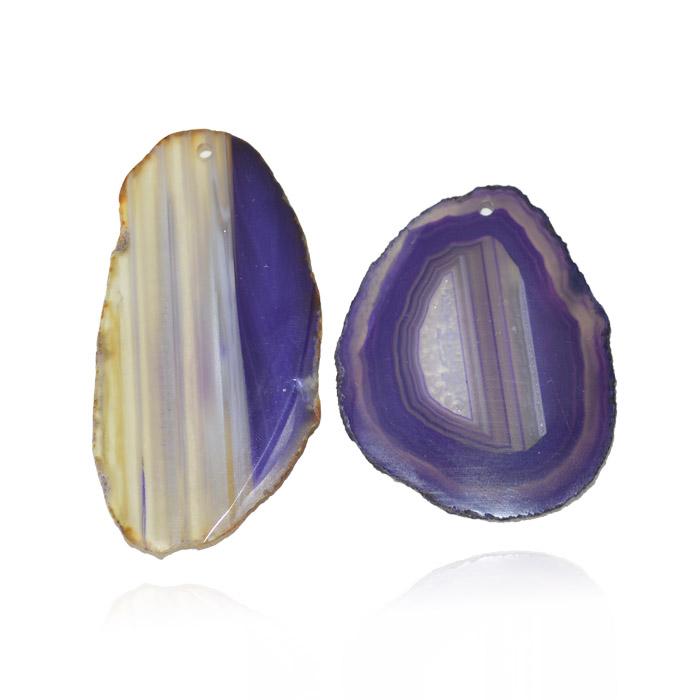 Chapa de Ágata Lilás Furada 3 a 5.5cm Bordas Polidas - 1 Peça - AGT_104  - ArtStones