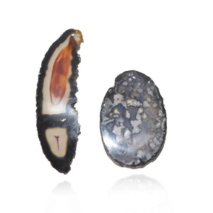 Chapa de Ágata Preta Furada 6 a 9cm - 1 Peça - AGT_102  - ArtStones