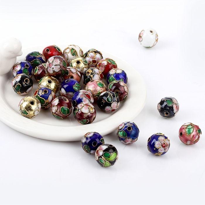 Cloisonne Esfera de 8mm - 4 peças - Cores Variadas - CL_204  - ArtStones