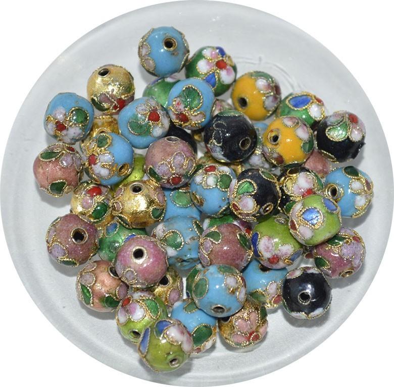 Cloisonne Esfera de 6mm Cores Variadas - 5 Peças - CL_206  - ArtStones