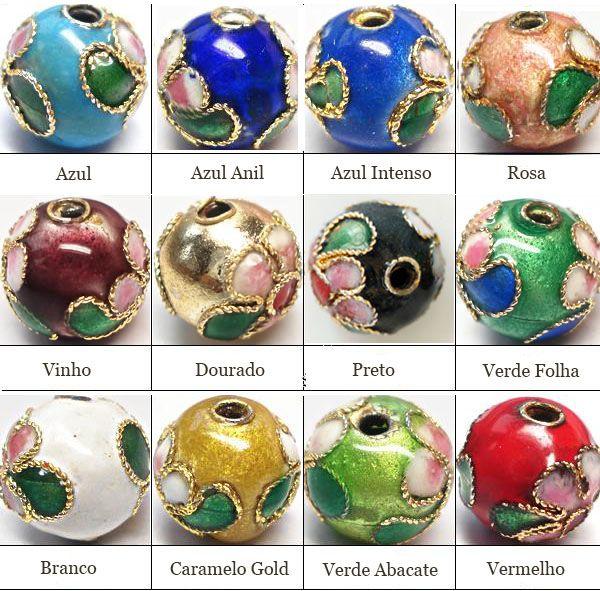 Cloisonne Esfera de 12mm Cores Variadas - 4 Peças - CL_208  - ArtStones