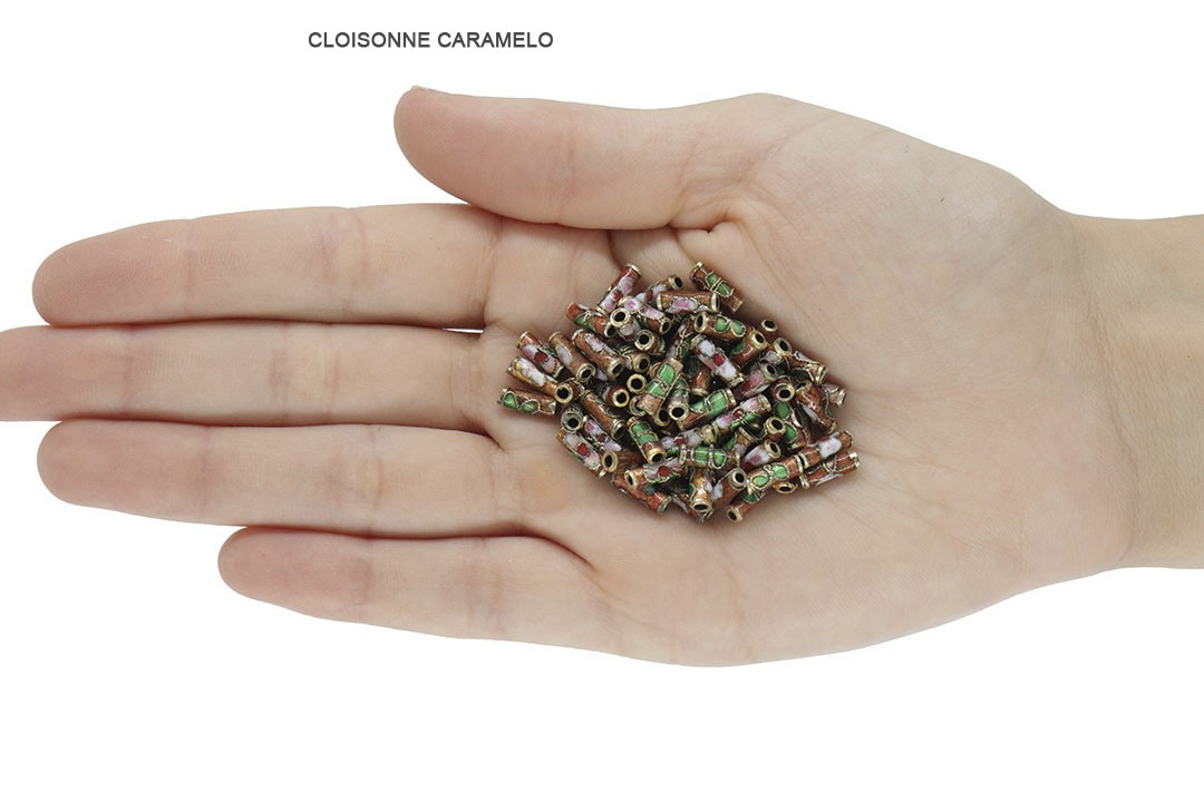 Cloisonne Tubo Cores Variadas 10mm - 10 peças - AM239  - ArtStones