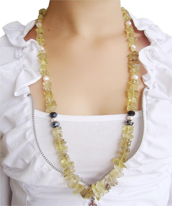 Colar de Gringold com Pérolas e Cristal Multifacetado - SJ025  - ArtStones