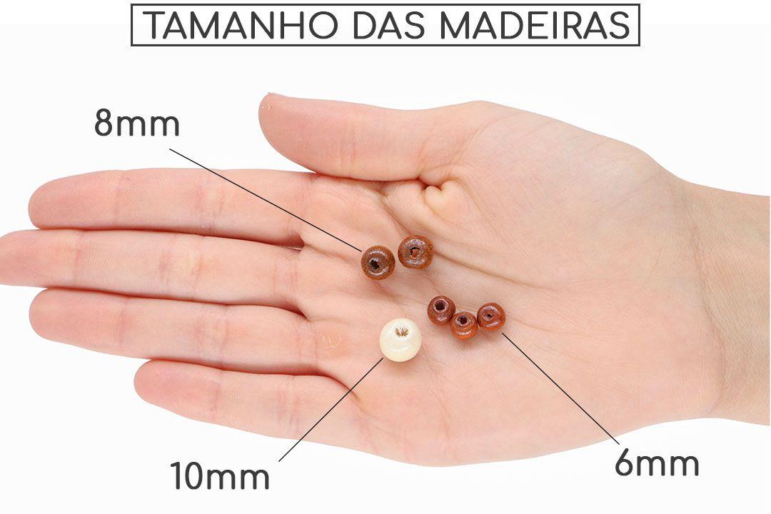 Contas de Madeira Natural 8mm - 500 GRAMAS - CM062  - ArtStones