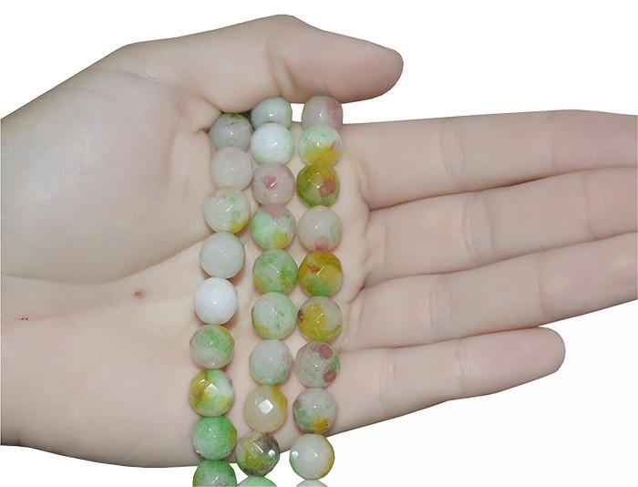 Jade Multicolor Fio com Esferas Facetadas de 10mm - F362  - ArtStones