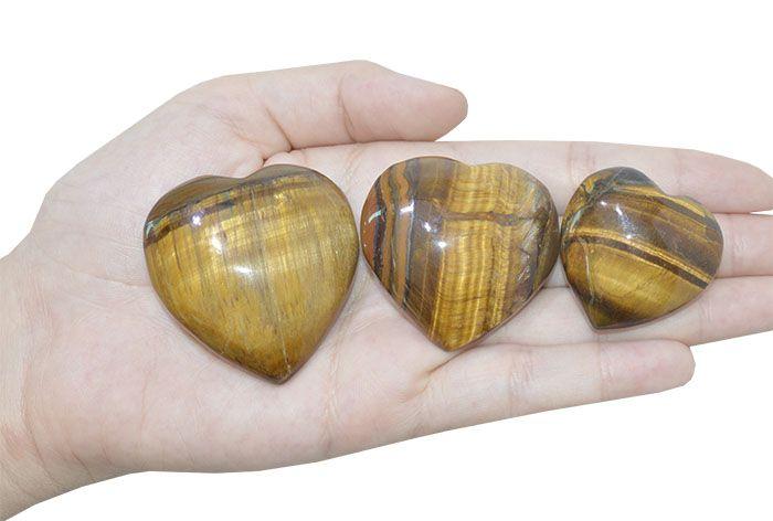 Coração Sem Furo Olho de Tigre 34 a 50mm - 1 Peça - PA051  - ArtStones
