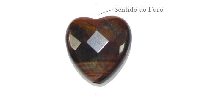 Coração de Olho de Boi 14mm Facetado - 04 peças - PMO_02  - ArtStones
