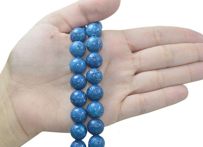 Coral Esponja Azul Fio com Esferas de 12mm - CO017  - ArtStones