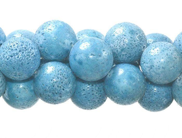 Coral Esponja Claro Azul Fio com Esferas de 16mm - CO021  - ArtStones