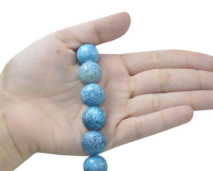Coral Esponja Azul Fio com Esferas de 16mm - CO019  - ArtStones