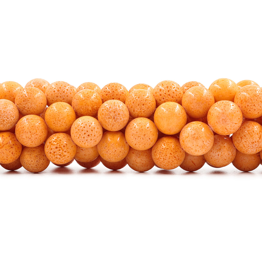 Coral Esponja Laranja Fio com Esferas de 14mm - CO019  - ArtStones