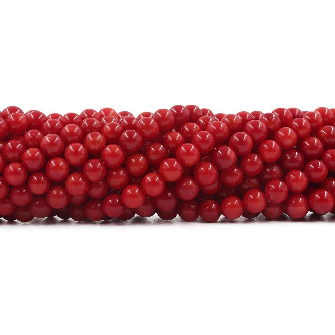 Coral Vermelho Fio com Esferas de 4mm - CO027  - ArtStones