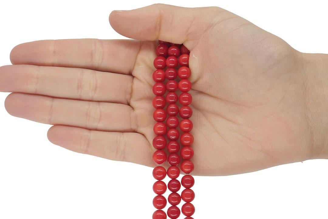 Coral Vermelho Fio com Esferas de 7mm - CO031  - ArtStones