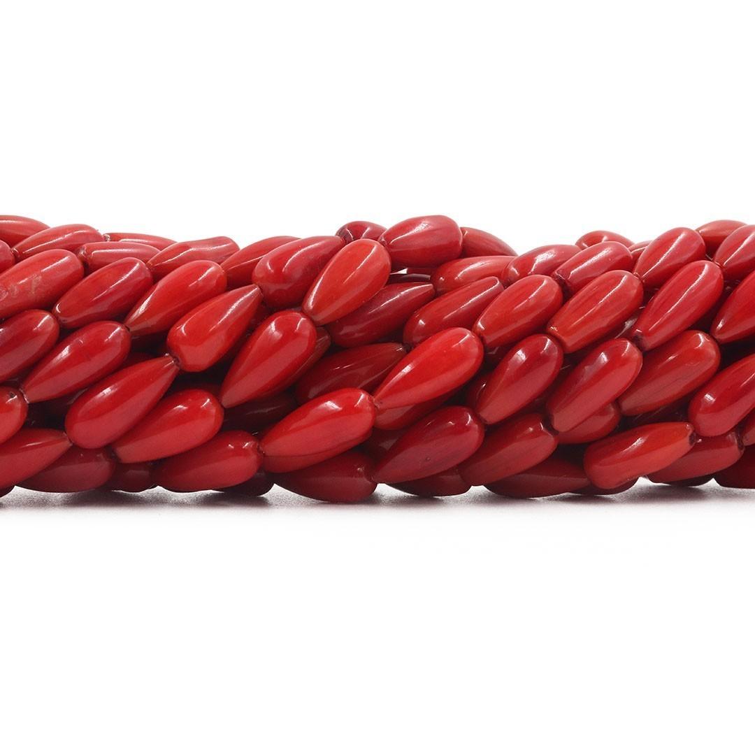 Fio com Gotas de Coral Vermelho 13x6mm -  CO029  - ArtStones