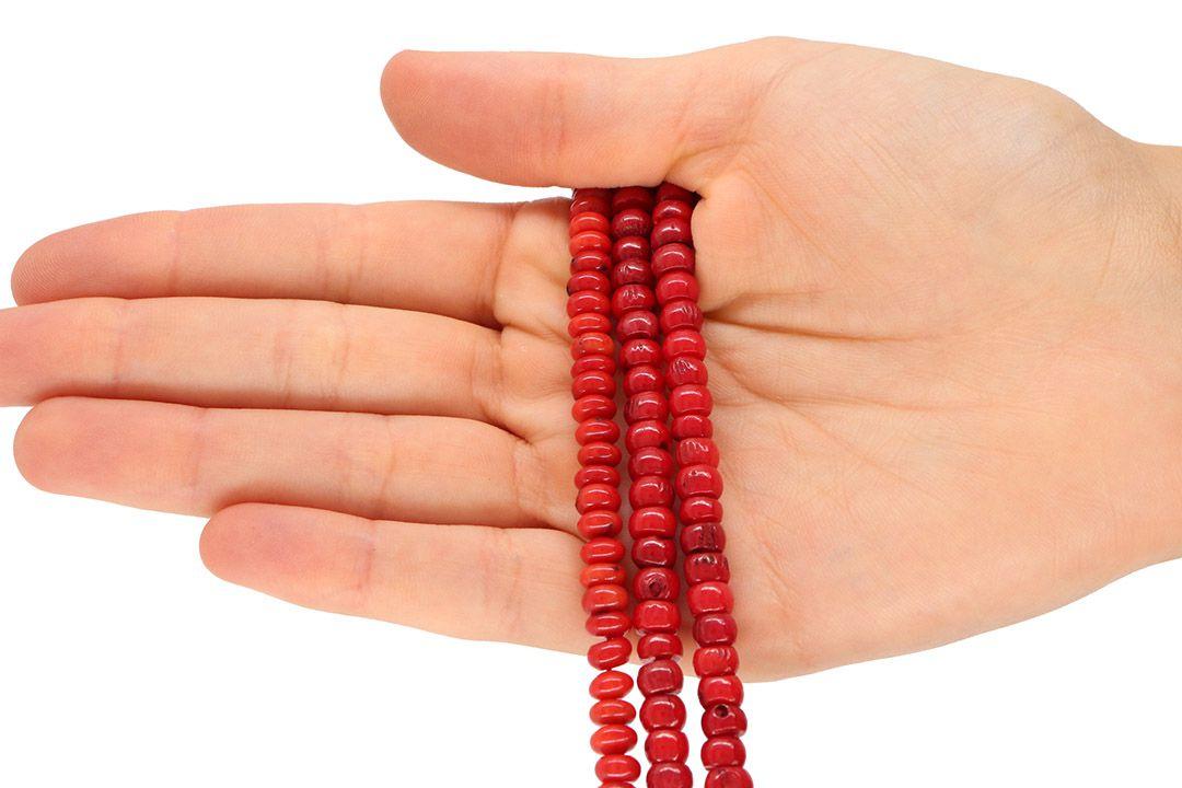 Coral Vermelho Natural Rondel 6x3mm - FCO_190  - ArtStones