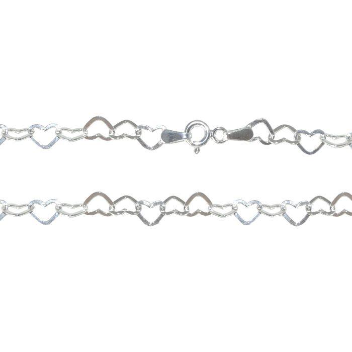 Corrente de Prata 925 Elo Coração 45cm - PR103  - ArtStones