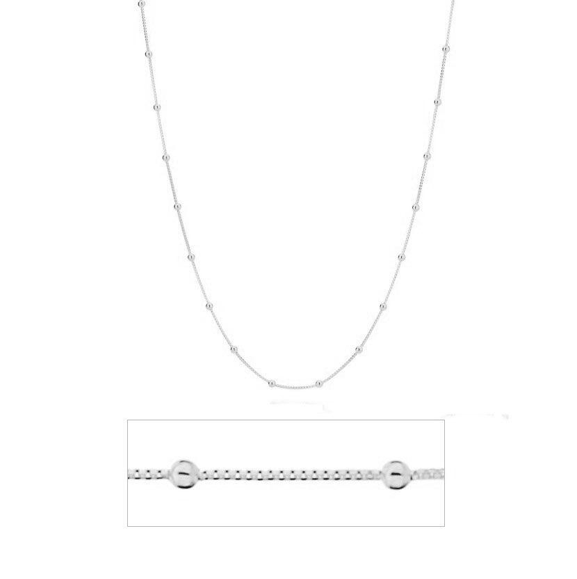 Corrente de Prata  925 Veneziana Bolinha 45cm - PR063  - ArtStones