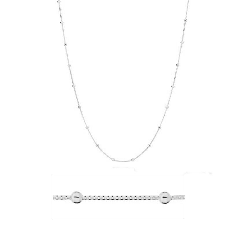 Corrente de Prata  925 Veneziana Bolinha 50cm - PR119  - ArtStones