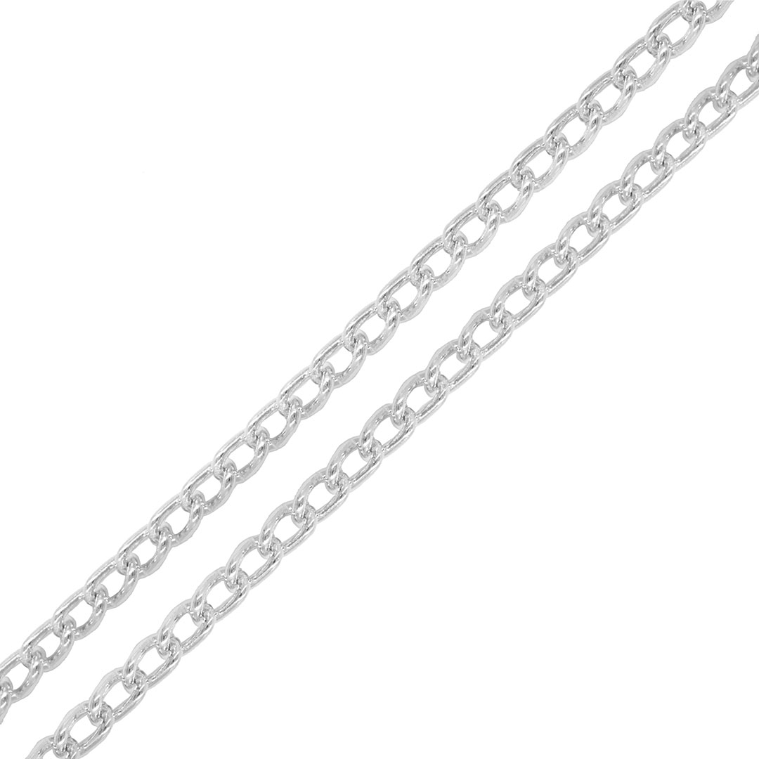 Corrente Aluminio Elo Cartier Folheado 6x3mm - Metro  - FO455  - ArtStones