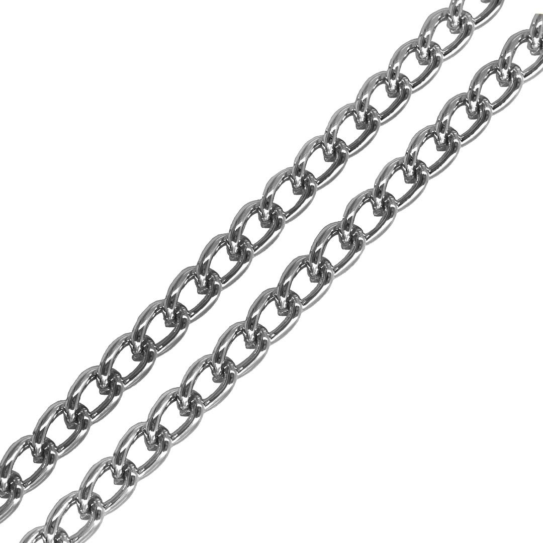 Corrente Aluminio Elo Losango Folheado 8x5mm - 50CM - FO456  - ArtStones