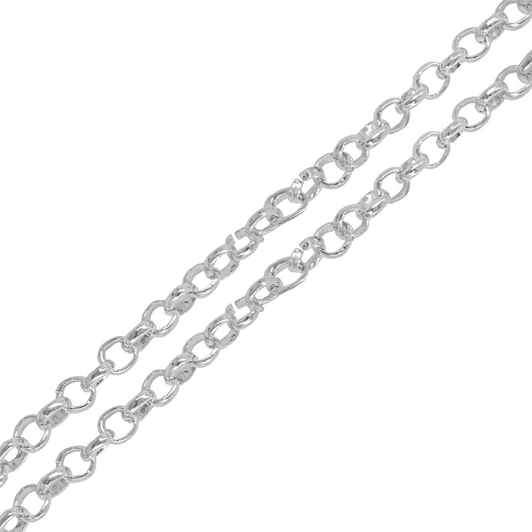 Corrente Aluminio Elo Português Folheado 5mm - Metro  - FO458  - ArtStones