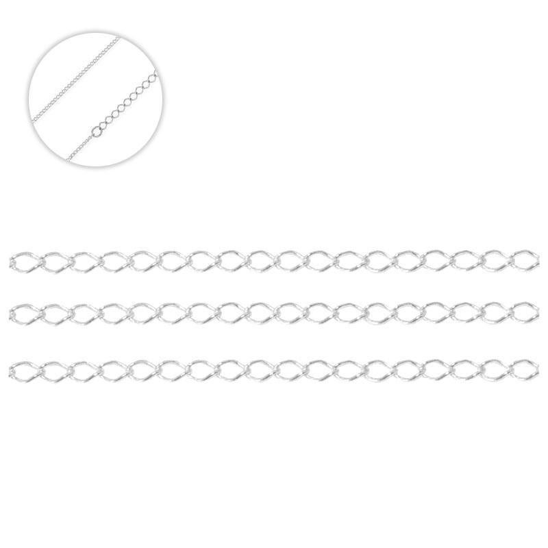 Corrente Italiana Alongadora Prata 925 Elo Grumet 4mm - Metro - PR148  - ArtStones