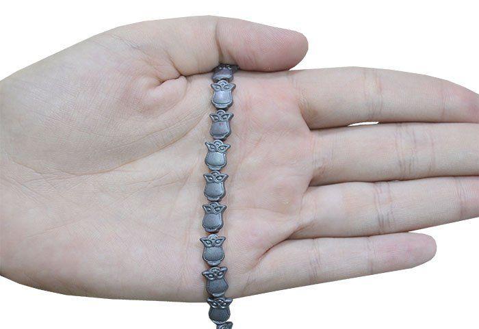 Coruja de Hematita Fosca 10x8mm - 06 peças - PA009  - ArtStones
