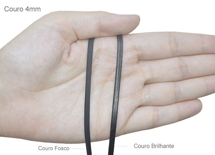 Couro Chato 4mm Cores Variadas - METRO - FL_151  - ArtStones