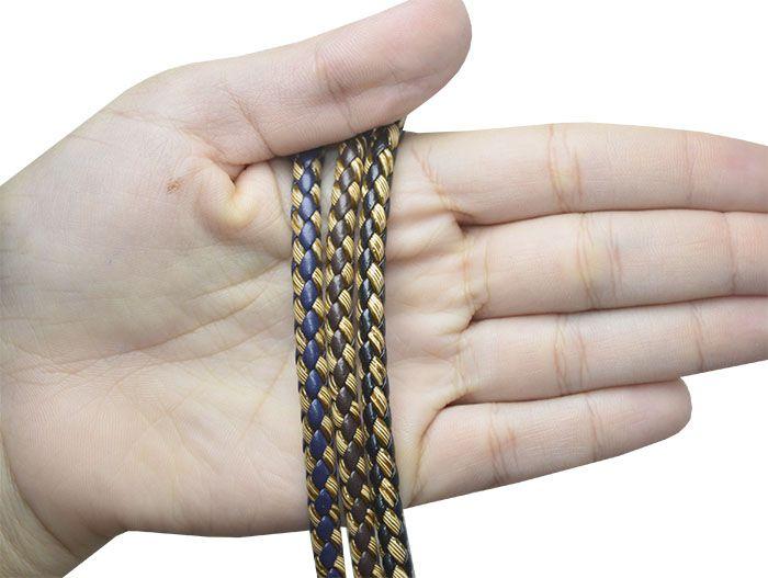 Couro Roliço Trancado 5mm Cores Variadas - PACOTE - MM069  - ArtStones