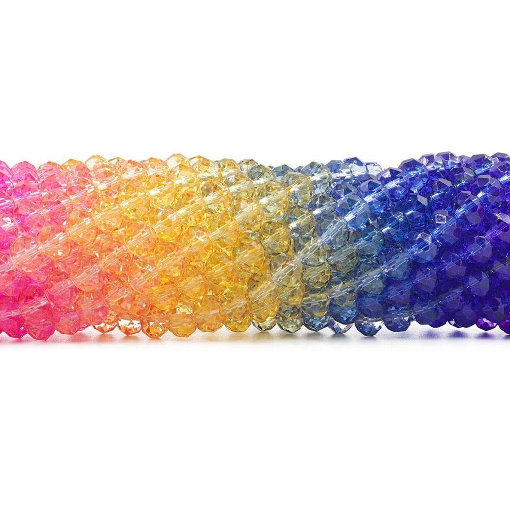 Cristal de Vidro Arco Íris Tie Dye 8mm - 68 cristais - CV480  - ArtStones