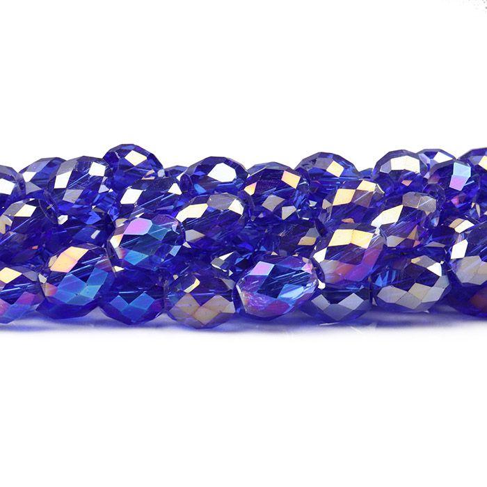Cristal de Vidro Azul Bic Boreal 10x8mm Barril - 48  cristais - FCR_735  - ArtStones