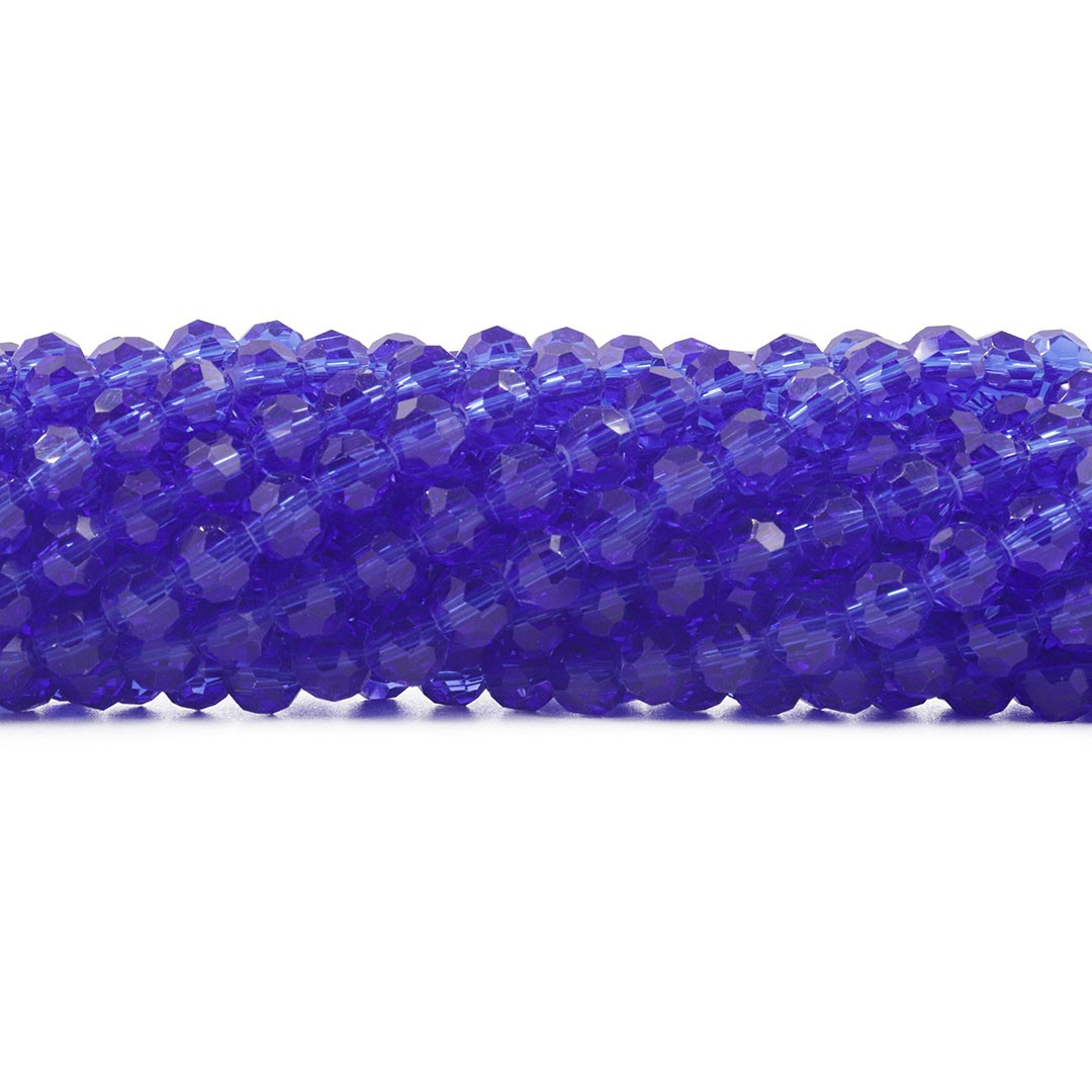 Cristal de Vidro Azul Bic Facetado Bola Extra 6mm - 98 esferas - CV509  - ArtStones