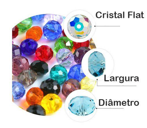 Cristal de Vidro Azul Metalizado 6mm Facetado - 98 cristais - FCR_305  - ArtStones