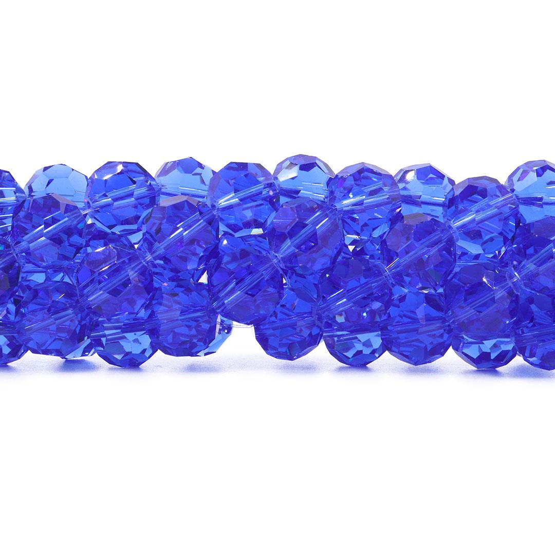Cristal de Vidro Azul Royal Facetado Bola Extra 14mm - 23 esferas - CV491  - ArtStones