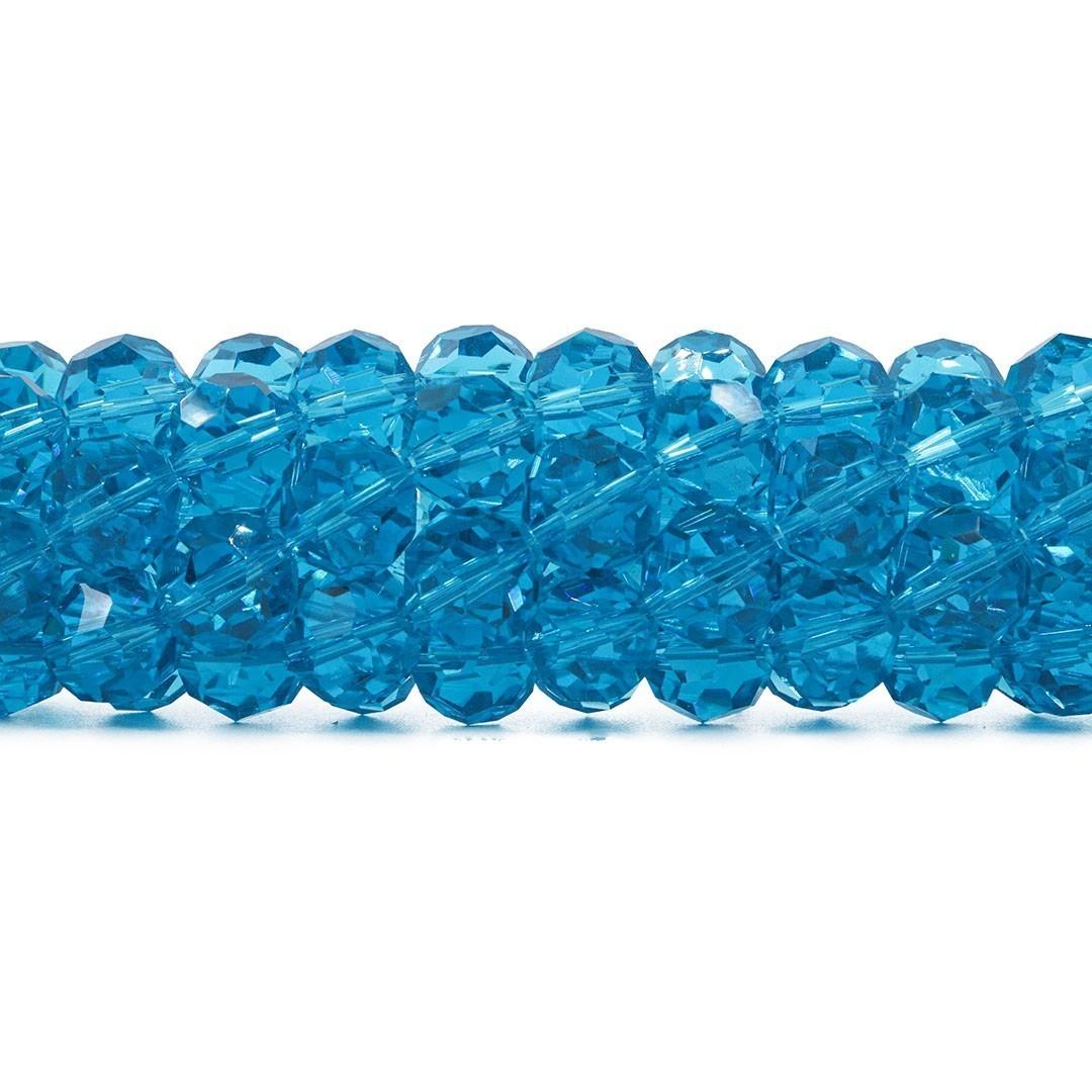 Cristal de Vidro Azul Topázio Facetado Bola Extra 14mm - 23 esferas - CV495  - ArtStones