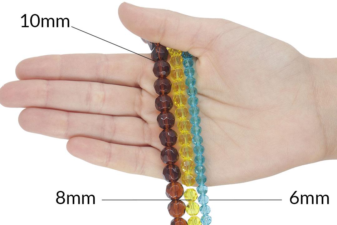 Cristal de Vidro Citrino Escuro Bola 6mm - 94 cristais - CV437  - ArtStones