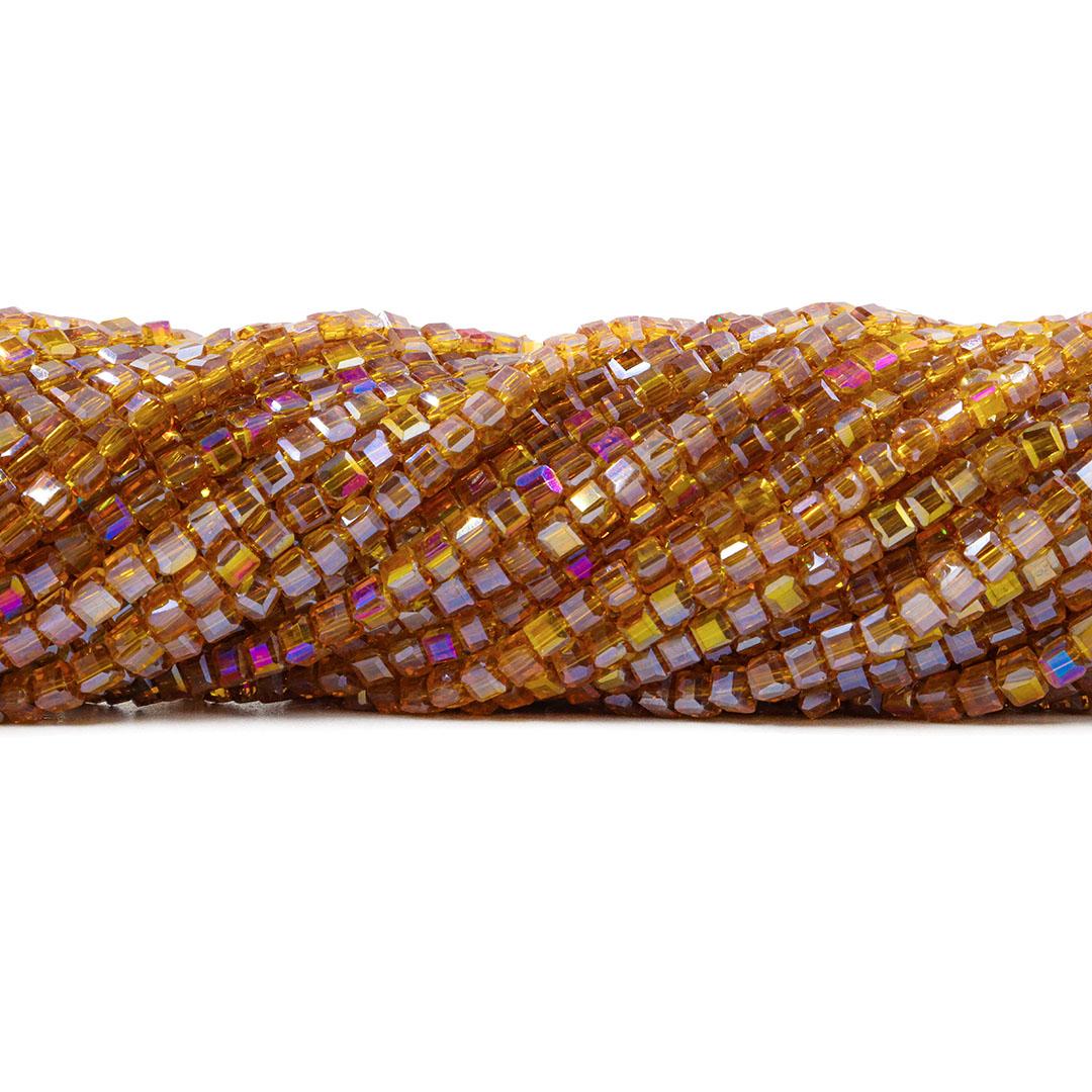 Cristal de Vidro Cubo 3.5mm Citrino Boreal - 98 cristais - CV010  - ArtStones