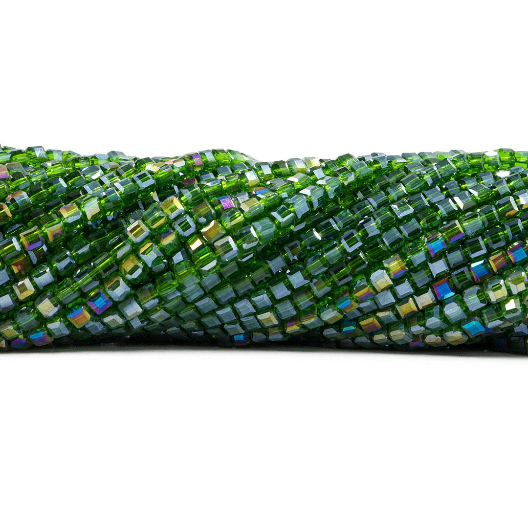 Cristal de Vidro Cubo 3.5mm Green Boreal - 98 cristais - CV313  - ArtStones