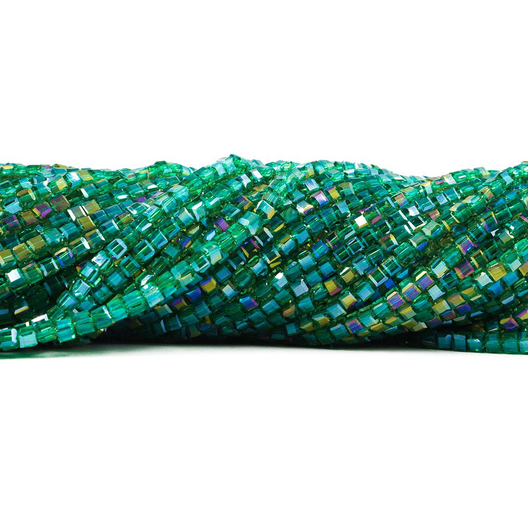 Cristal de Vidro Cubo 3.5mm Oceânico Boreal - 98 Cristais - CV004  - ArtStones