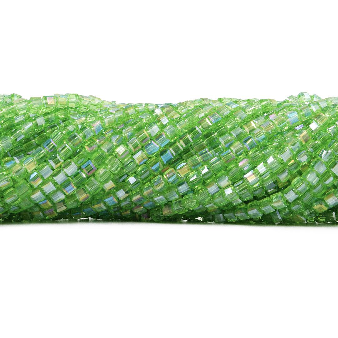 Cristal de Vidro Cubo 3.5mm Verde Boreal - 98 cristais - CV005  - ArtStones