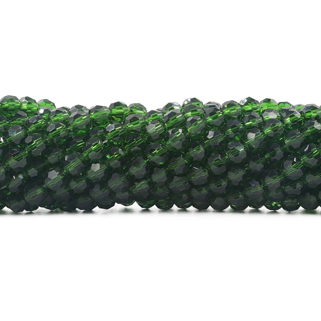 Cristal de Vidro Esmeralda Facetado Bola Extra 6mm  - 98 esferas - CV506  - ArtStones
