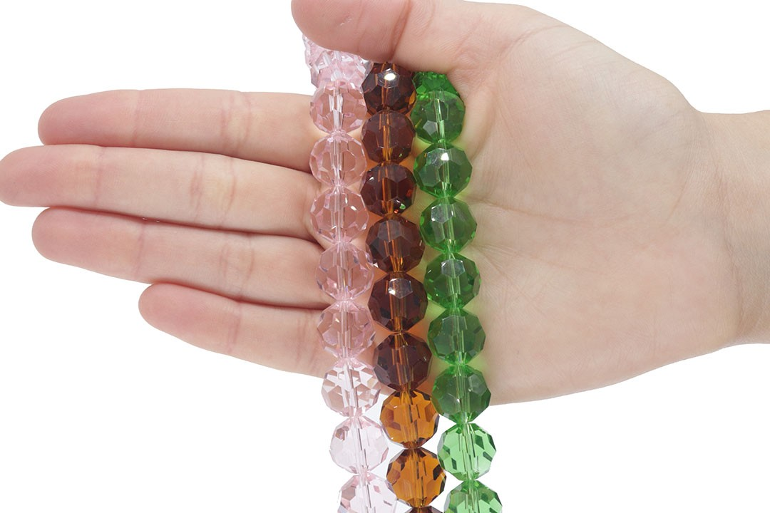 Cristal de Vidro Rosa Facetado Bola Extra 14mm - 23 esferas - CV488  - ArtStones