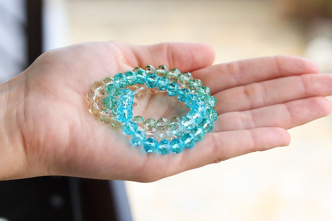 Cristal de Vidro Tie Dye Hawaí 8mm - 60 cristais - CV519  - ArtStones