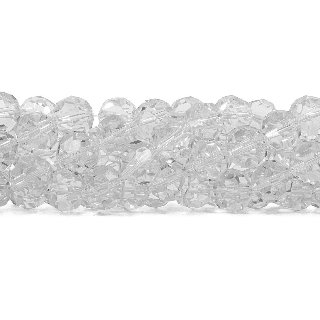 Cristal de Vidro Translúcido Bola Facetado Extra 8mm - 44 esferas - CV066  - ArtStones