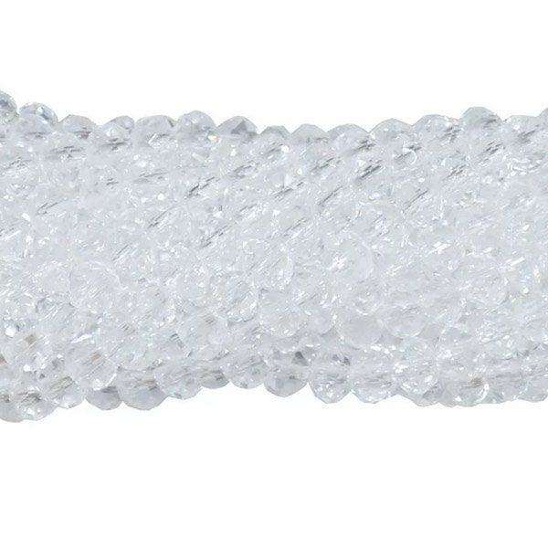 Cristal de Vidro Transparente 6mm Facetado - 98 cristais - FCR_12  - ArtStones