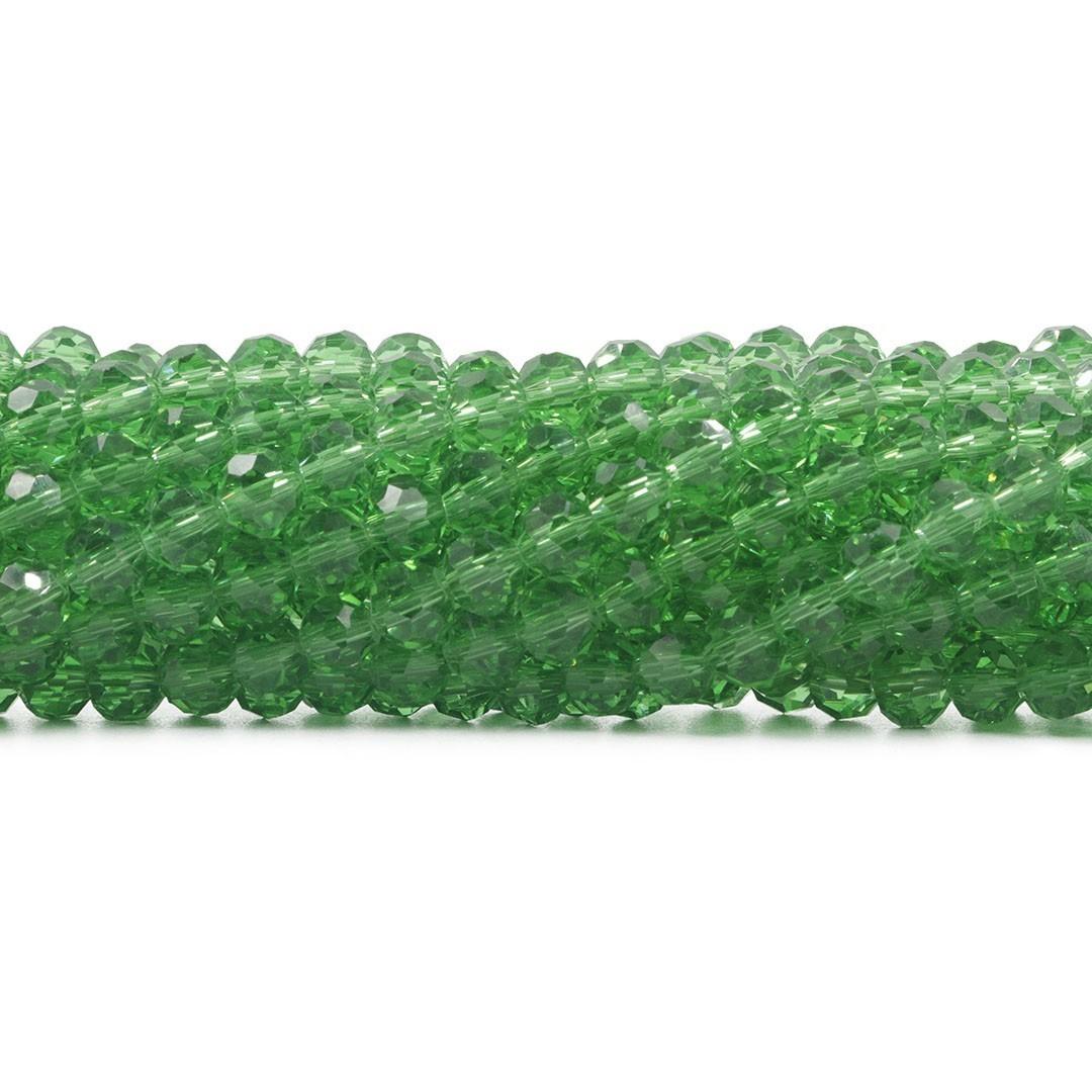 Cristal de Vidro Verde Turmalina Facetado Bola Extra 6mm  - 98 esferas - CV505  - ArtStones