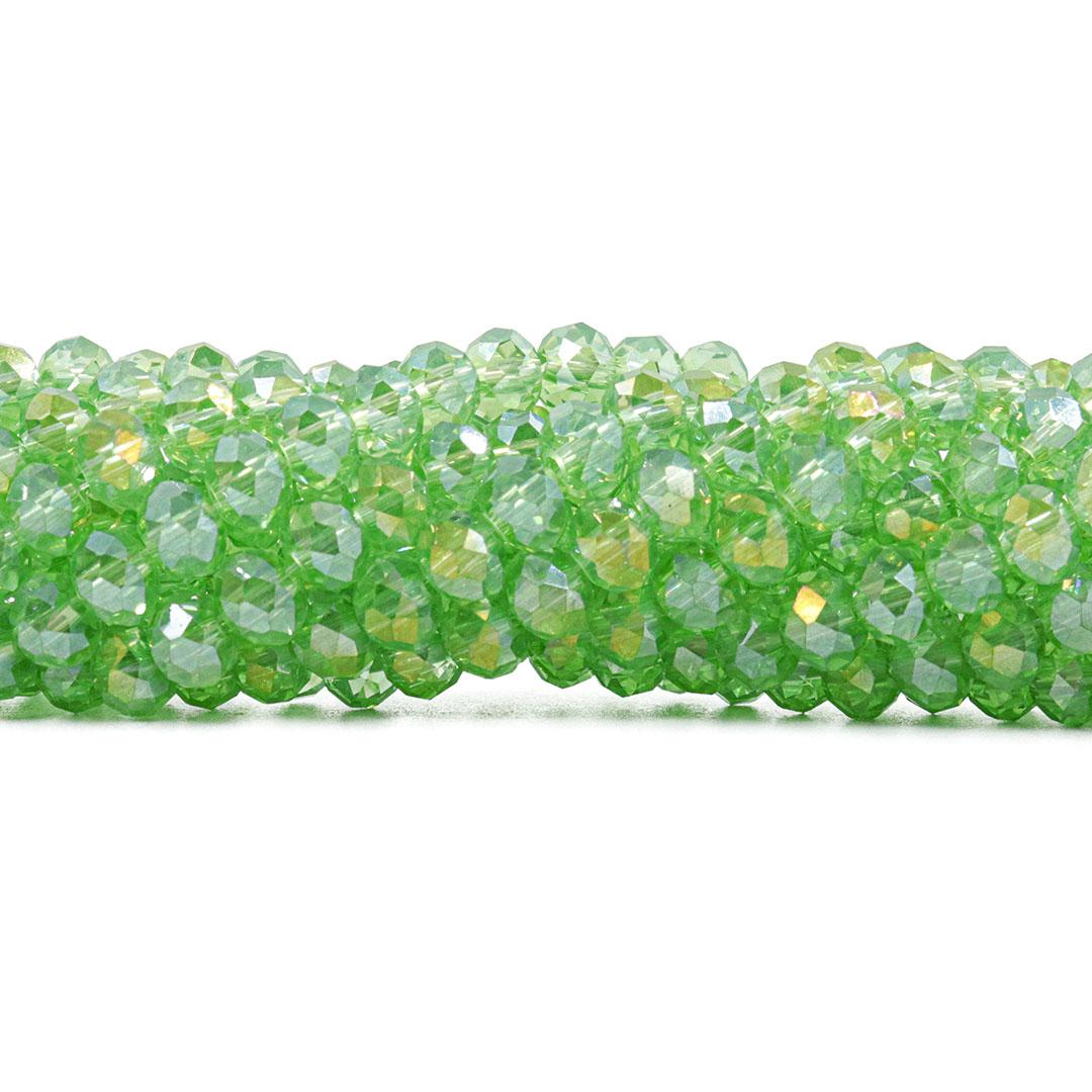 Cristal de Vidro Verde Boreal 6mm  - 95 cristais - CV326  - ArtStones