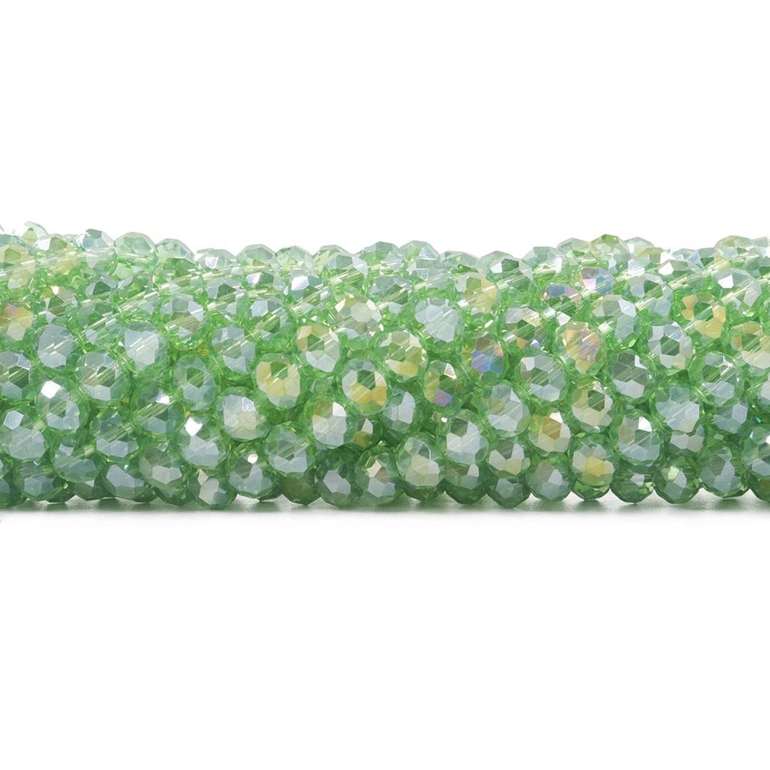Cristal de Vidro Verde Boreal Flat 8mm - 67 cristais - CV132  - ArtStones