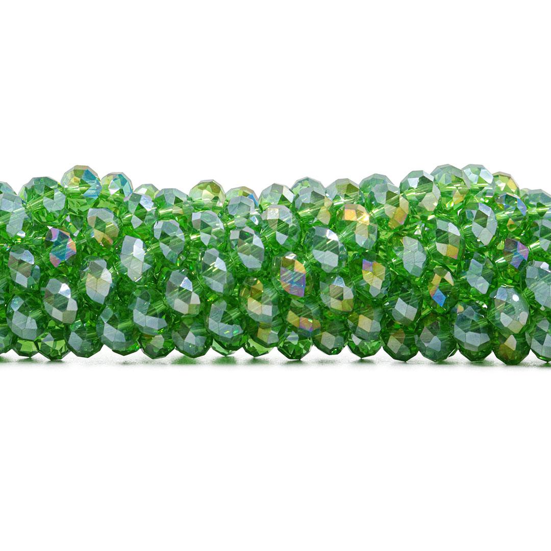 Cristal de Vidro Verde Folha Boreal 8mm - 70 Cristais - CV237  - ArtStones